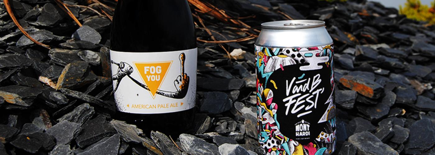 Sur cette photo figure une American Pale Ale Fog You bière Mont Hardi ainsi qu'une canette V and B fest, bière Mont Hardi - French Craft brewery !